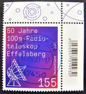 """Bund/BRD April 2021,  Sondermarke """"50 Jahre Radioteleskop Effelsberg"""" MiNr 3599, Ecke 2, Gestempelt - Gebruikt"""