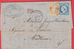 N°59 60 GC 1847 ISSOUDUN INDRE POUR MULHOUSE ALLEMAGNE - 1849-1876: Klassik
