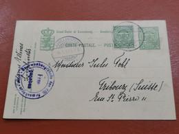 Luxembourg Entier Postaux, Oblitéré Junglinster 1918 Envoyé à Fribourg Censure WW1 - Entiers Postaux