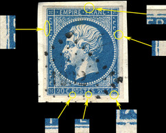 France - Yv.14A 20c Bleu T.1 Pos. 98D2 (3è état) - Obl. PC 1932 (Mauriac) - TB Sur Petit Fragment - (ref.03zi) - 1853-1860 Napoléon III