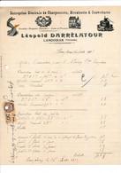 Facture Illustrée Charpentier Menuisier Couvreur LEOPOLD DARRELATOUR à LANGOIRAN 33 GIRONDE - 1900 – 1949