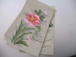 Lot 8 Carte Celluloid Peinte Fleurs Anniversaire - Other