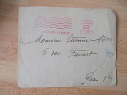 1938 Paris 51 , 11 Mai 1938  , 65 C Ema Empreinte Machine Affranchir - 1921-1960: Moderne