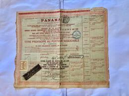 Cie Universelle Du Canal Interocéanique De PANAMA --------Titre  Provisoire  D' Une  Obligation - Navigazione