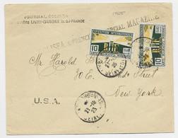 ARTS DECORATIFS 10CX2 LETTRE LIVRY GARGAN 21.10.1925 POUR USA - 1921-1960: Moderne