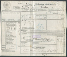 Lettre De Voiture Expédiée De MAFFLES (cachet Hexagonal Bleu) Du 6 Mars 1884 Vers Courtrai Exp. Castermant-Lechien Scier - Fragments & Covers