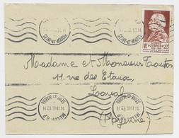 SURTAXE 2FR FOURNIER SEUL LETTRE MELUN RP 14.II.1946 - 1921-1960: Modern Period