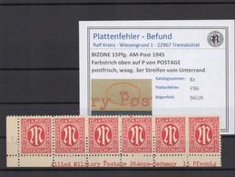 BIZONE 1945 PLATTENFEHLER Nr 8z F96 Postfrisch (409752) - American/British Zone
