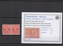 BIZONE 1945 PLATTENFEHLER Nr 8z F56 Postfrisch (409750) - American/British Zone