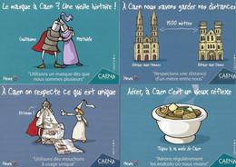 4 CPM.    Humour-Covid.    Aérer, à Caen C'est Un Vieux Réflexe !     Heula éditions.    Postcard. - Humor