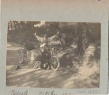 Moto Side-car 1921 Simulation D Accident Surrealiste Surrealisme - Photo Montage 8x11cm Collée Sur Carton - Cars