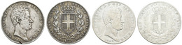 Carlo Alberto, 1831-1849, 5 Lire, 1844,1849, 2 Stück, KM 113.3, S, Sge - Unclassified