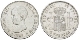 5 Pesetas, 1871,1876,1878,1885,1888, Teilweise Rf., KM 666,671,676,688,689, Ss,ss+ - Unclassified