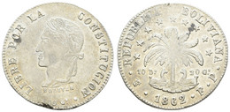 Republik, 8 Soles, 1862, Schrötlingsfehler, KM 138.6, F. St - Bolivia