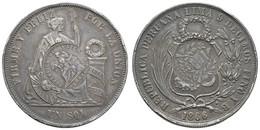 Zentralamerikansiche Republik, 1 Peso, (1894), Gegenstempel Auf Peru 1 Sol 1866 (KM 196.2), KM 224, Vz+ - Guatemala