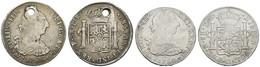 Carlos III., 1759-1788, 8 Reales, 1782, FF, Gereinigt, Dazu Bolivien 8 Reales 1786 PR, Oben Grösseres Loch, KM 106,55, S - Mexico