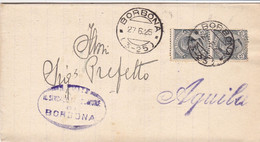 Borbona (Aquila) Frazionario 3-25 Del 1925 Splendida - Marcofilía