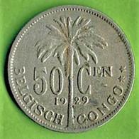 CONGO BELGE / 50 CENTIMES / 1929 / En FLAMAND - 1910-1934: Albert I