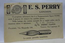 PALERMO   -- FABBRICA  PENNE STILOGRAFICHE  -PENNINI - INCHIOSTRI --- E.S. PERRY  LONDON - Industry