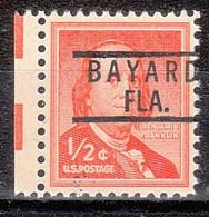 USA Precancel Vorausentwertung Preo, Locals Florida, Bayard 801 - Preobliterati