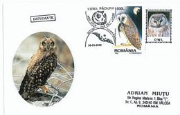 COV 34 - 562 OWL, Romania - Cover - Used - 2006 - Eulenvögel