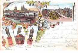 Allemagne - N°61085 - Gruss Aus C�LN A Rh. Statues - Multi-vues - 1898 - Koeln