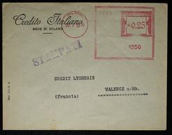 Italie - EMA Du Crédit Italiano De Milan Pour La France 1938 - Affrancature Meccaniche Rosse (EMA)