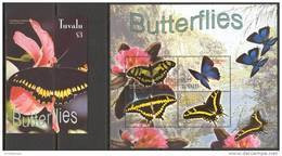 Tuvalu 2003. Mi.#1138/41+Bl.#108 MNH/Luxe. Fauna. Insects. Butterflies (Ts20) - Tuvalu
