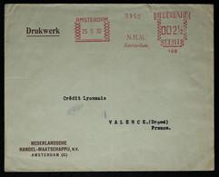 Pays Bas - EMA  Sur Enveloppe De La Handel-Maatschappij Pour La France 1932 - Affrancature Meccaniche Rosse (EMA)