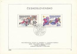 Czechoslovakia / First Day Sheet (1978/06) Praha: Ice Hockey World And European Championships (painter: I. Rumansky) - Hockey (Ijs)
