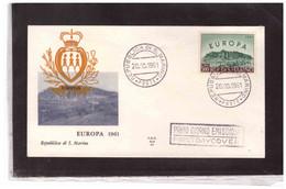 A11  -   SAN MARINO  20.10.1961  /   FDC  EUROPA UNITA  1961 - 1961