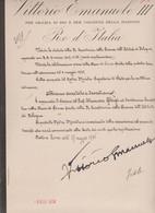 REGIO  DECRETO DI  VITTORIO  EMANUELE  III°  - CON RELATIVA FIRMA AUTOGRAFA  +  MINISTRO  FEDELE - Autografi