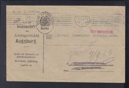 Dt. Reich Couvert Augsburg 1923 Bar Verrechnet - Covers & Documents
