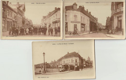 Lot 3 Ansichtskarten Lens, Rue De Douai, Rue De La Gare Und Rue De Paris Um 1920 - Lens