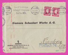 262701 / Slovakia 1940 - 1+1 K.  SIEMENS Elektrizitäts A.G. Bratislava , WW2 , Flamme Telegram 10 H. , Nürnberg Germany - Storia Postale