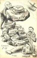 CARICATURE POLITIQUE Illustrateur MOLYNK (dessin Original)  LE CRAYON  N°69 1906 - Satirical