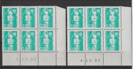 France 1990 Coin Daté Marianne Briat 2618 ** MNH (x 2 Ex) - 1990-1999