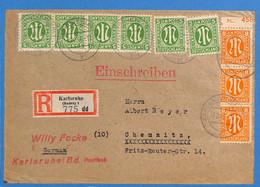 Allemagne Bizone 1946 Lettre De Karlsruhe (G1998) - Zona Anglo-Americana