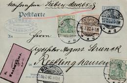 Nachnahme Postkarte Deutsches Reich Warendorf 15.7.1903 Nach Recklinghausen - Zonder Classificatie