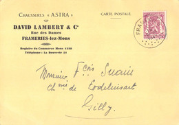 "Frameries-lez-Mons - Carte Postale Commerciale Publicitaire - Chaussures ""Astra"" - Advertising"