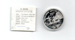 NED.ANTILLEN 25 GULDEN 1997 ZILVER PROOF FORT NASSAU 1797-1997 SCHIP - West Indies