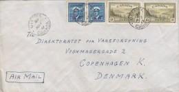 Canada Air Mail OTTAWA 1947 Cover Lettre Denmark 2x 5 C. George VI. & 2x 10 C. Landscape Stamps - Storia Postale