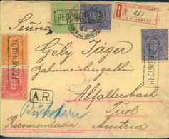 "1916, Decorative 4-colour Franking Registered From MONTEVIDEO ""A.R."" (Avis Reception) To Abfalterbach, Austria - Uruguay"