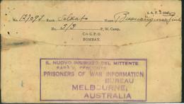 1944, Letter From Italian POW In India Via G.P.O. Bonbay And Italian Information Bureau In Melbourne, Austarlia To Italy - Sin Clasificación