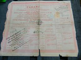 PANAMA:TITRE PROVISOIRE AU PORTEUR NEGOCIABLE CANAL DE PANAMA EN 1888 AVEC TIMBRE CONTROLE - Other