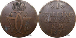 Danemark - Royaume - Christian VII - 1 Skilling 1771 Petit Module - TB/VF30 - Mon3942 - Danimarca