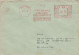 Deutsches Reich Firmenbrief Mit Freistempel AFS Augsburg 1934 Otto Franck Zucker Kolonialwaren - Poststempel - Freistempel