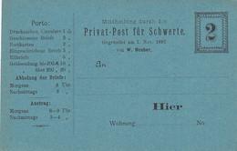 Deutsches Reich Postkarte Privat Stadtpost Schwerte 1880-1898 - Private
