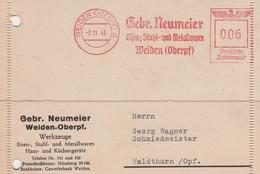 Deutsches Reich Firmenkarte Mit Freistempel AFS Weiden Oderpfalz 1943 Gebrüder Neumeier Werkzeuge - Machine Stamps (ATM)