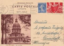 France Entier Postal Illustré Pour L'Allemagne 1938 - Postales Tipos Y (antes De 1995)